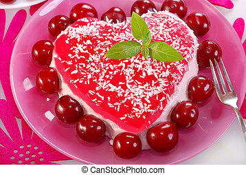 delicious heart shape cherry cake with mascarpone cheese and jelly
