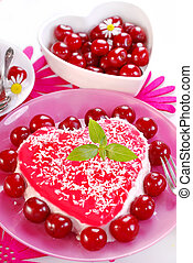 heart shape cherry cake