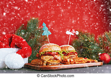 delicious homemade Christmas burgers with a juicy veal ...