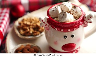 Delicious homemade christmas hot chocolate or cocoa with...