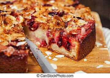 Delicious homemade crumble plum cake