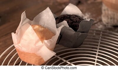 Delicious homemade muffins - Homemade muffins with chocolate...