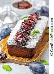 Delicious homemade plum cake.