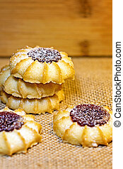 Delicious homemade shortbread cookies with jam in the middle