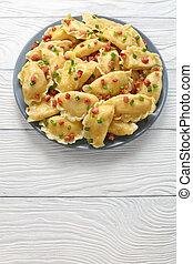 delicious hot homemade dumplings, top view