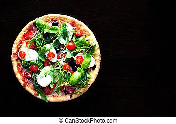 Delicious hot pizza with mushrooms, mozzarella and pepperoni...