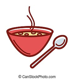 Delicious hot soup in deep red bowl with metal spoon