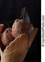 Delicious ice cream In waffle cone