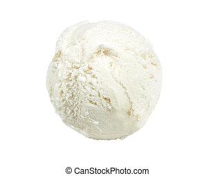 Delicious ice cream scoop isolated on white background,...