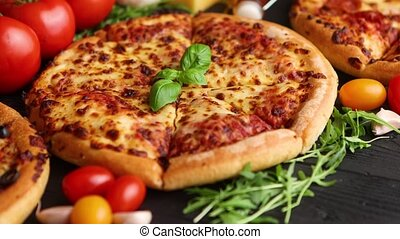Delicious italian or american style pizaas composition. With...