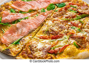 Delicious italian pizza close up