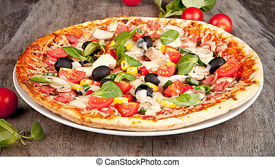 Delicious italian pizza served on wooden table