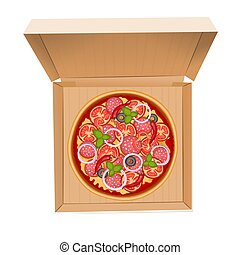 Delicious italian pizza with salami in box isolated on white Illustration.