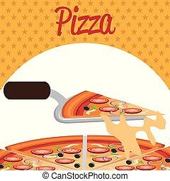delicious italian pizza with spatula