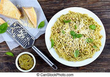 delicious italian spaghett with sauce pesto
