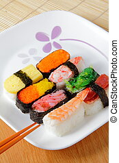 delicious japan sush with white plate