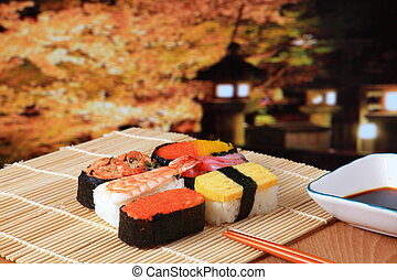 delicious Japanese sushi mix with beautiful japan night scenes