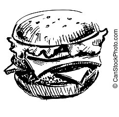 Delicious juicy burger isolated on white. Sketch vector...