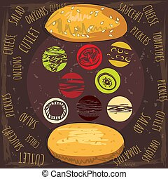 Delicious juicy burger with ingredients a set of salad, tomatoes, cheese, onions, cutlets, sauce, vector, illustration, isolated