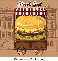 Delicious juicy burger with ingredients a set of salad, tomatoes, cheese, onions, cutlets, sauce, in a street cart vector, illustration, isolated
