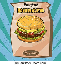 Delicious juicy burger with ingredients, in a package, packing, vector, illustration, isolated