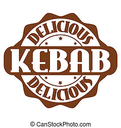 Delicious kebab stamp or label