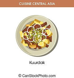 Delicious Kuurdak on plate from Central Asian cuisine...