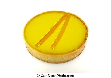 Delicious Lemon Tart. Oblique shot on white