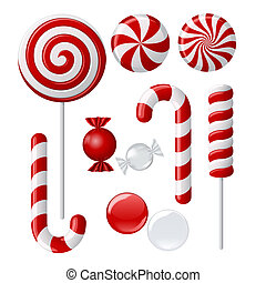 Delicious lollipop collection - Vector set with different...