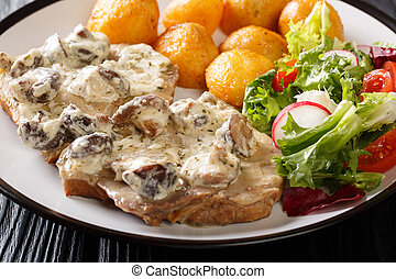 Delicious lunch of pork steak in a creamy mushroom sauce with new potatoes and fresh vegetable salad close-up. horizontal