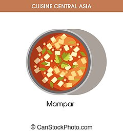 Delicious Mampar in bowl from Central Asian cuisine isolated...