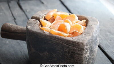 Delicious Mandarin citrus fruit slices