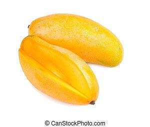 delicious mango fruit and slice on white background,...