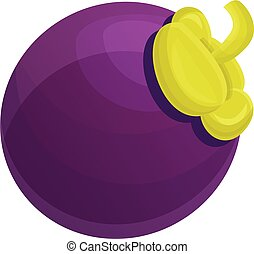 Delicious mangosteen icon, cartoon style