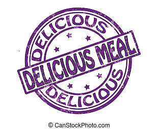 Stamp with text delicious meal inside, vector illustration