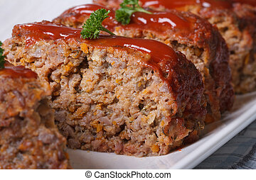 Delicious meat loaf with ketchup macro, horizontal