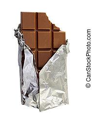 milk chocolate - delicious milk chocolate in foil isolated...