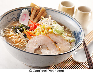 miso ramen - delicious miso ramen, shallow depth of field