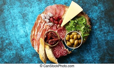 Delicious mix of different snacks and appetizers. Spanish...