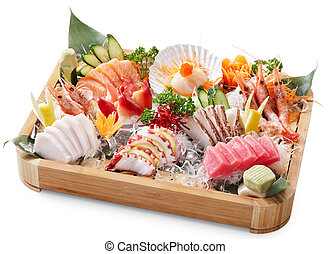 delicious mixed sashimi isolated on white background