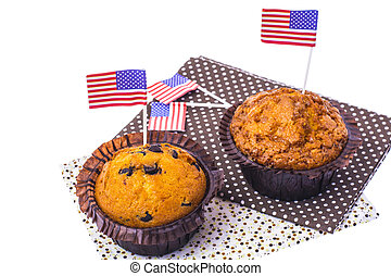 Delicious muffins on Independence Day Isolated.