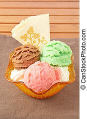 Delicious multi flavor ice cream