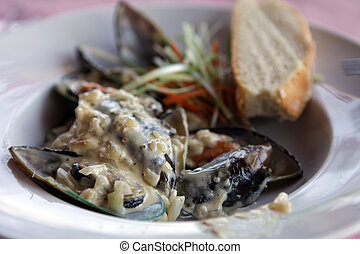 delicious mussels in cream sauce