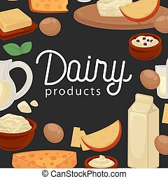 Delicious natural fresh healthy dairy products promotional poster