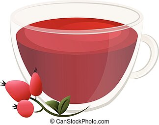 Delicious natural tea with hawthorn in a beautiful transparent mug.