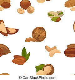Delicious nutritious nuts full of vitamins and minerals isolated cartoon flat vector