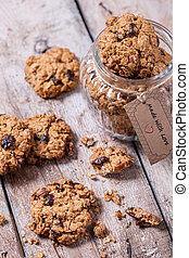 Delicious oatmeal cookies with pecan nuts and dried cranberries