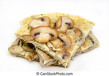 Delicious omelet with mushrooms on white background