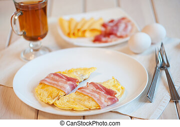 Delicious omelette on a plate.