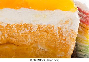 delicious Orange cake on white background